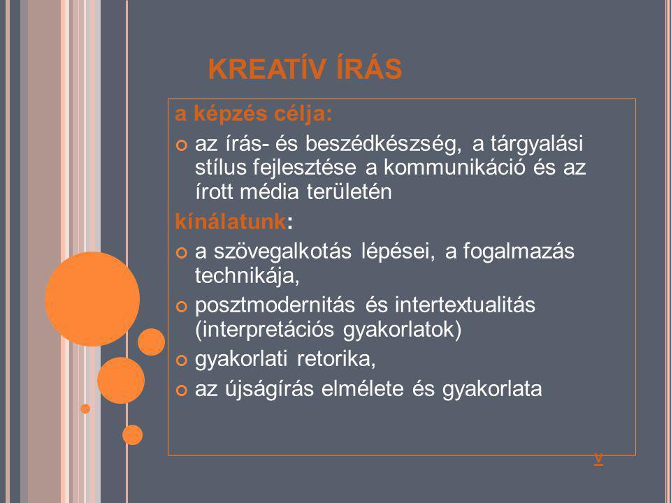 KREATÍV ÍRÁS a képzés célja: