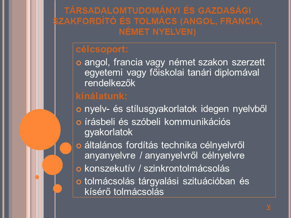 nyelv- és stílusgyakorlatok idegen nyelvből