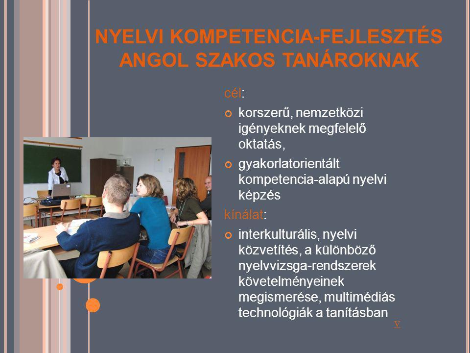 NYELVI KOMPETENCIA-FEJLESZTÉS ANGOL SZAKOS TANÁROKNAK