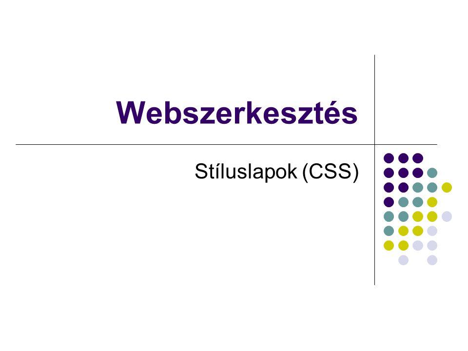 Webszerkesztés Stíluslapok (CSS)