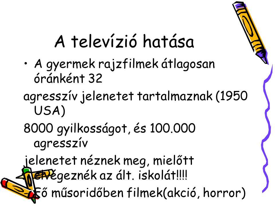 A televízió hatása A gyermek rajzfilmek átlagosan óránként 32