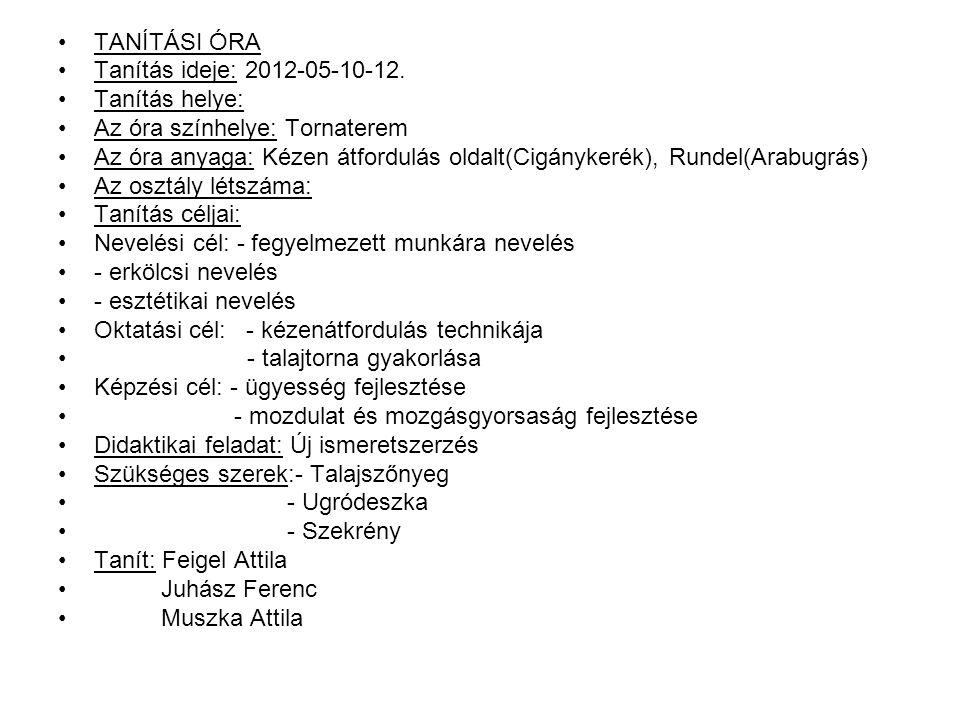 TANÍTÁSI ÓRA Tanítás ideje: 2012-05-10-12. Tanítás helye: Az óra színhelye: Tornaterem.