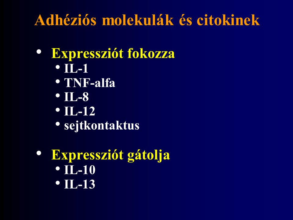 Adhéziós molekulák és citokinek