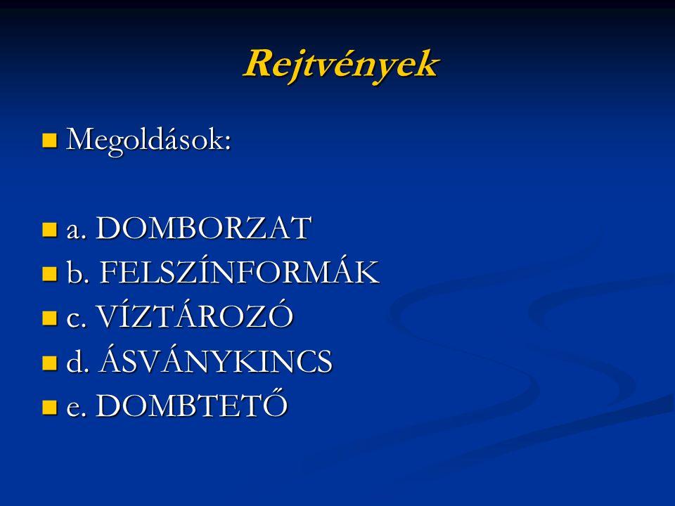 Rejtvények Megoldások: a. DOMBORZAT b. FELSZÍNFORMÁK c. VÍZTÁROZÓ