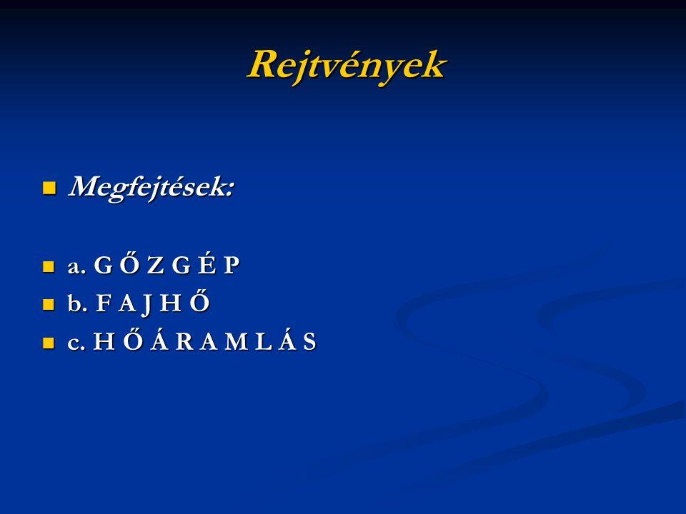 Rejtvények Megfejtések: a. G Ő Z G É P b. F A J H Ő