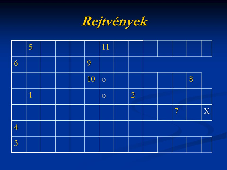 Rejtvények 5 11 6 9 10 o 8 1 2 7 X 4 3