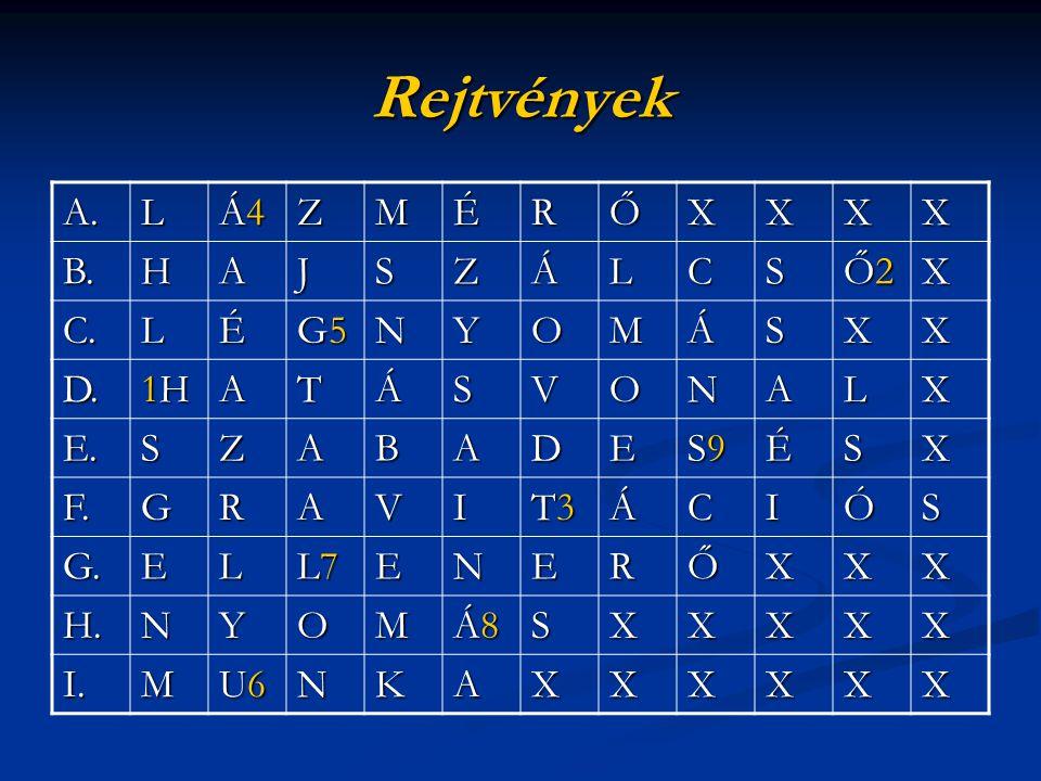 Rejtvények A. L Á4 Z M É R Ő X B. H A J S Á C Ő2 C. G5 N Y O D. 1H T V