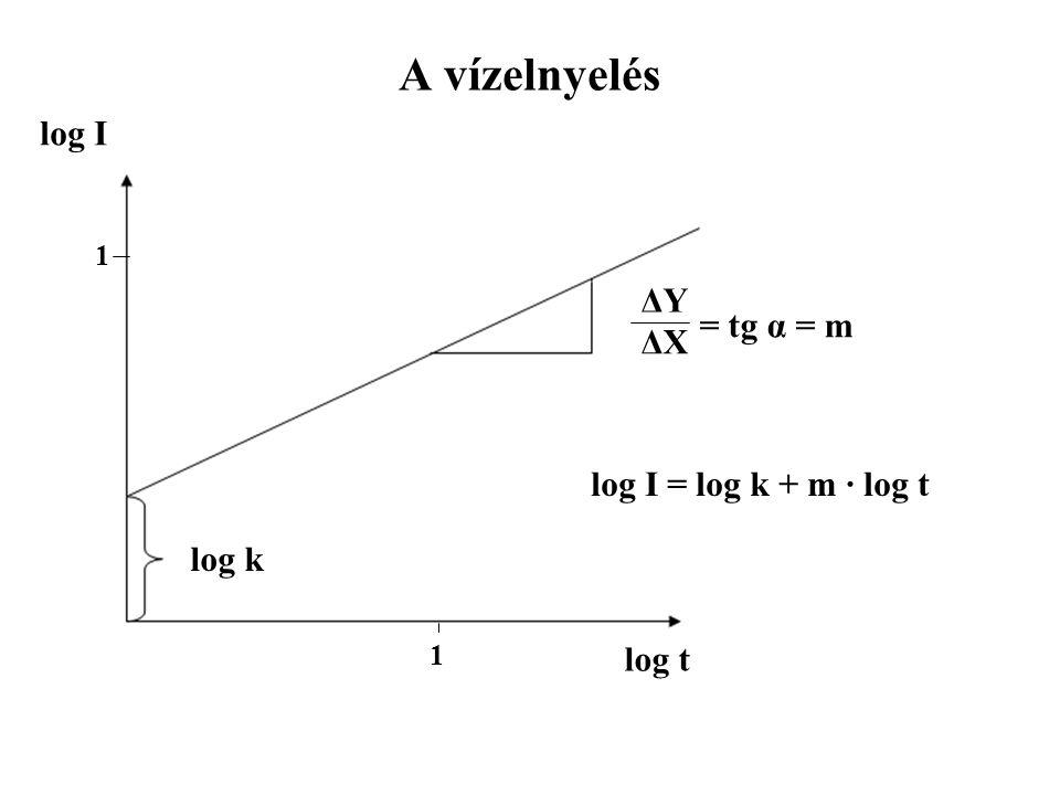 A vízelnyelés log I ΔY = tg α = m ΔX log I = log k + m · log t log k