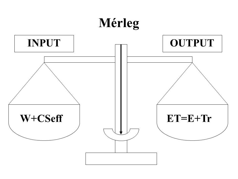 Mérleg ET=E+Tr W+CSeff OUTPUT INPUT
