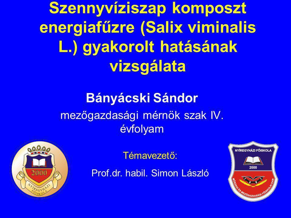 Bányácski Sándor mezőgazdasági mérnök szak IV. évfolyam