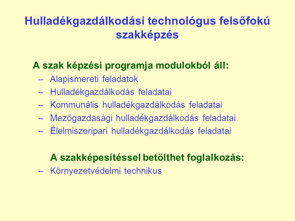 Hulladékgazdálkodási technológus felsőfokú szakképzés