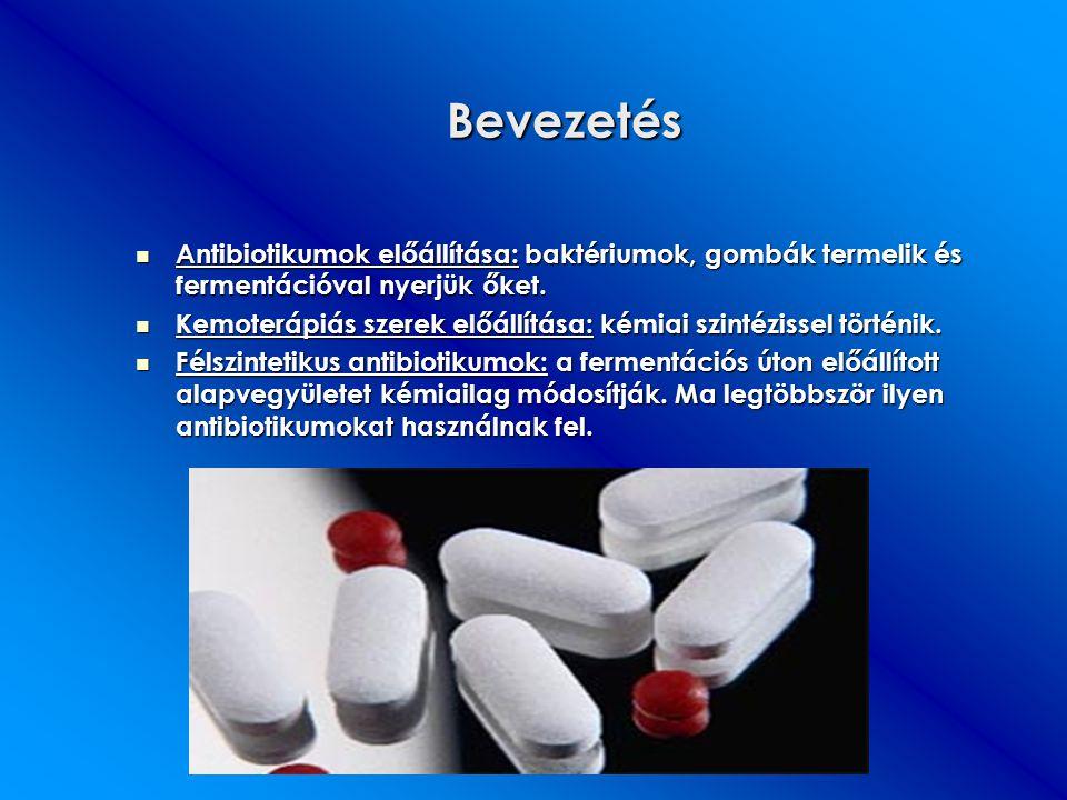 Bevezetés Antibiotikumok előállítása: baktériumok, gombák termelik és fermentációval nyerjük őket.