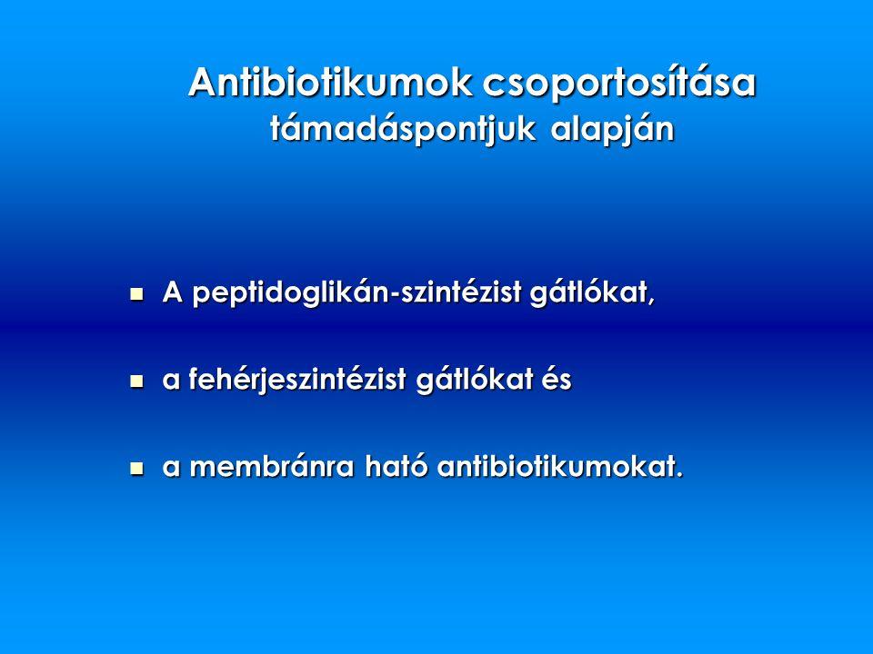 Antibiotikumok csoportosítása támadáspontjuk alapján