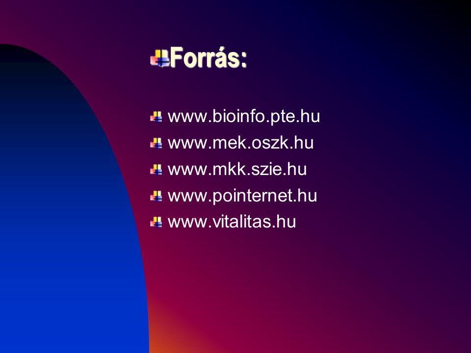 Forrás: www.bioinfo.pte.hu www.mek.oszk.hu www.mkk.szie.hu