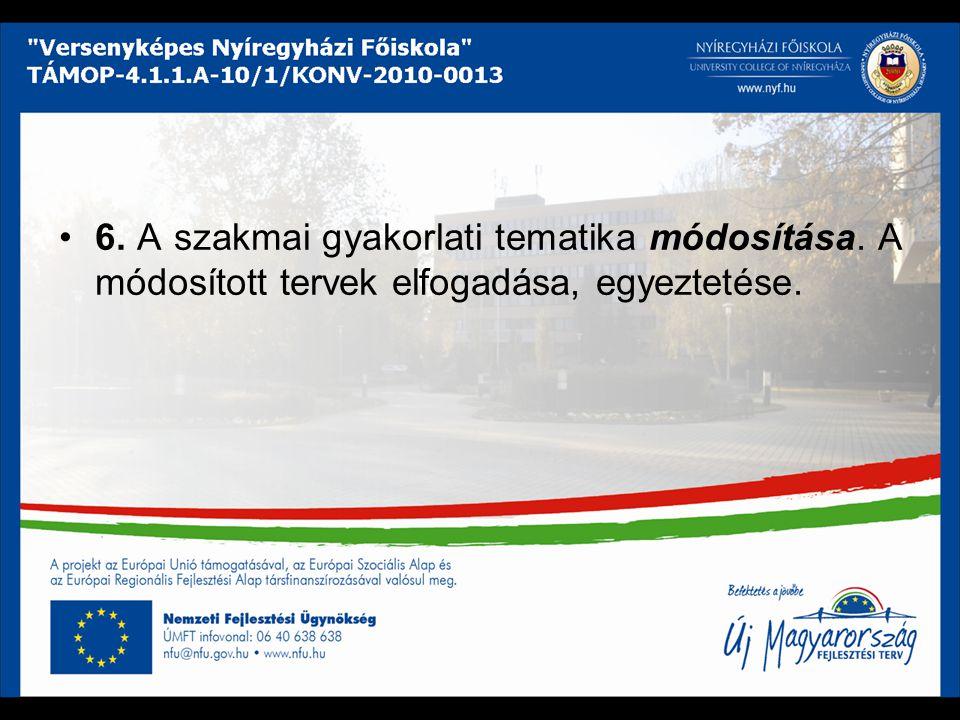 6. A szakmai gyakorlati tematika módosítása