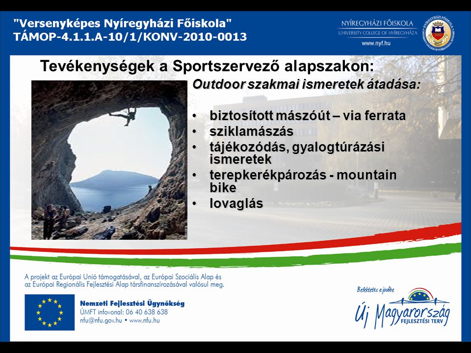 Tevékenységek a Sportszervező alapszakon: