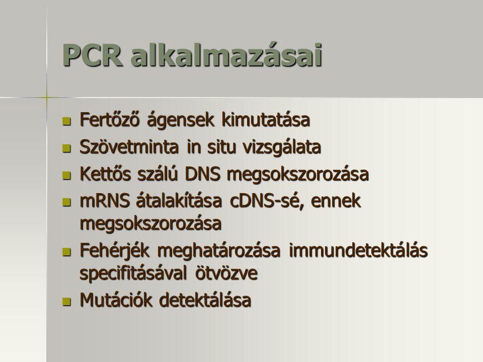 PCR alkalmazásai Fertőző ágensek kimutatása