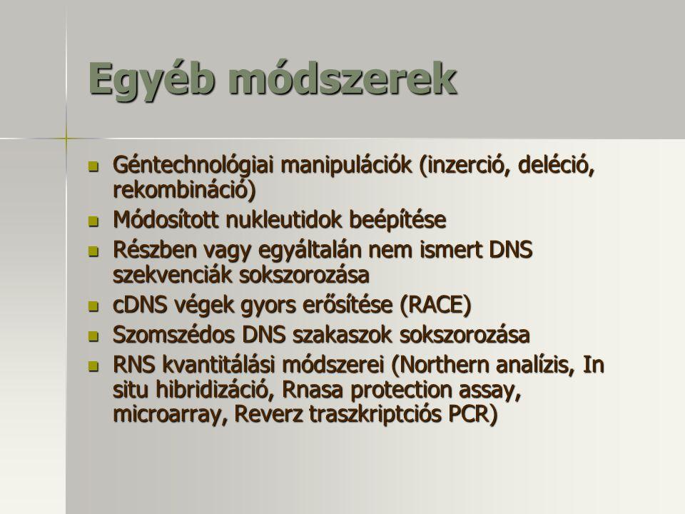 Egyéb módszerek Géntechnológiai manipulációk (inzerció, deléció, rekombináció) Módosított nukleutidok beépítése.