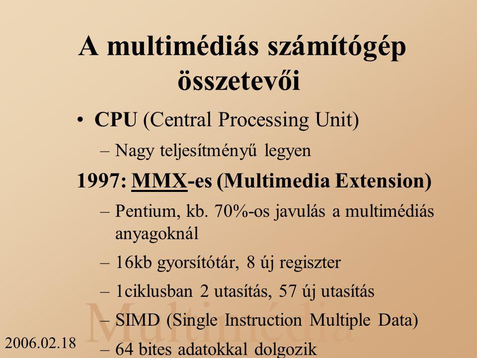 A multimédiás számítógép összetevői