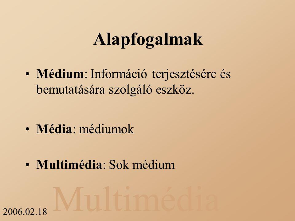 Alapfogalmak Médium: Információ terjesztésére és bemutatására szolgáló eszköz.