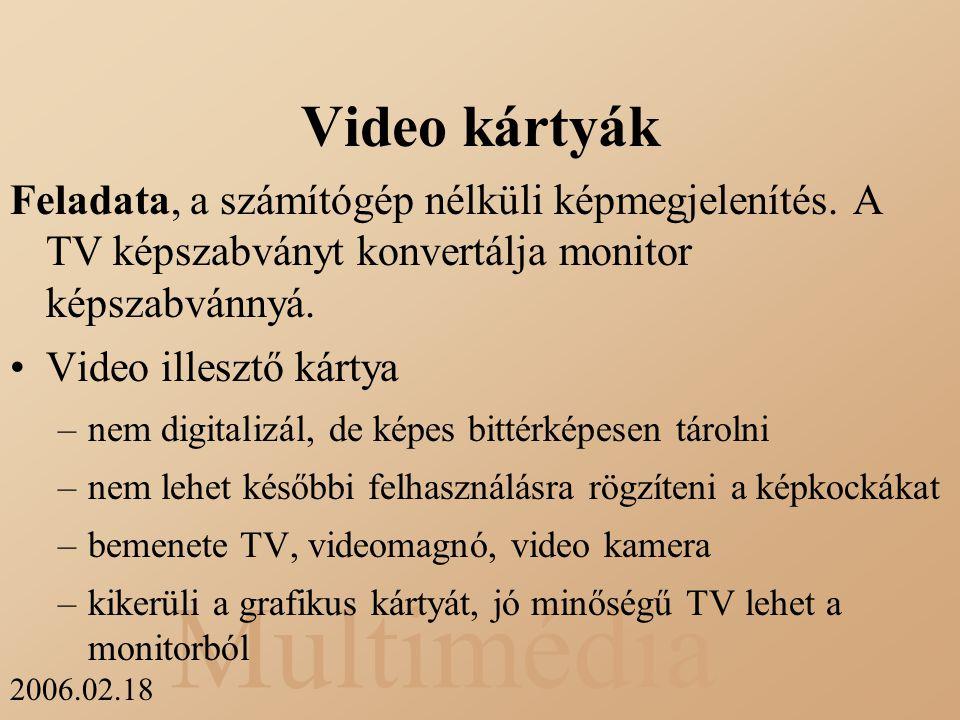 Video kártyák Feladata, a számítógép nélküli képmegjelenítés. A TV képszabványt konvertálja monitor képszabvánnyá.