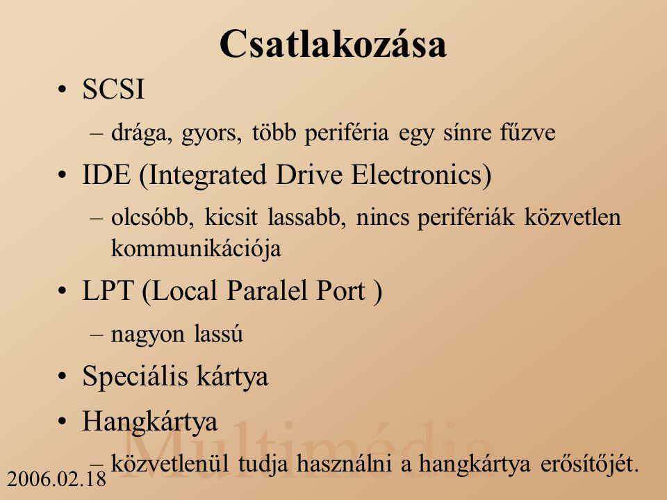 Csatlakozása SCSI IDE (Integrated Drive Electronics)