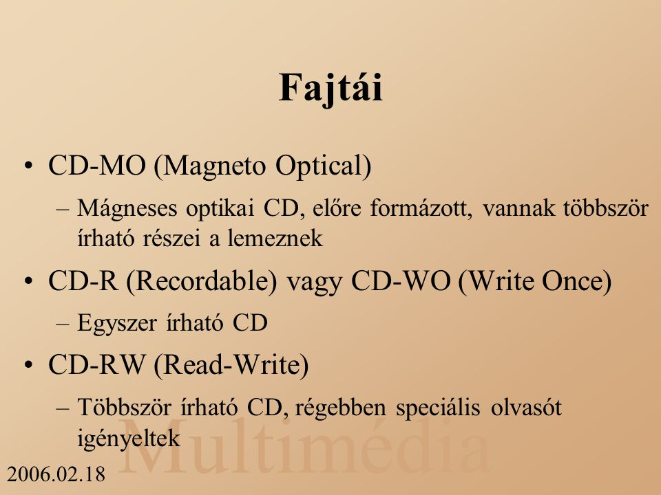 Fajtái CD-MO (Magneto Optical)