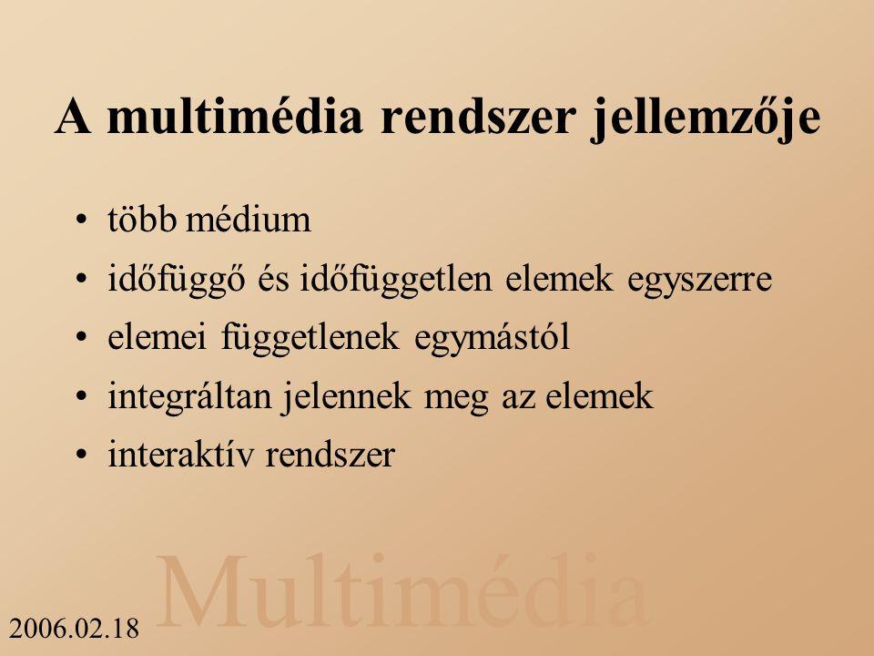 A multimédia rendszer jellemzője