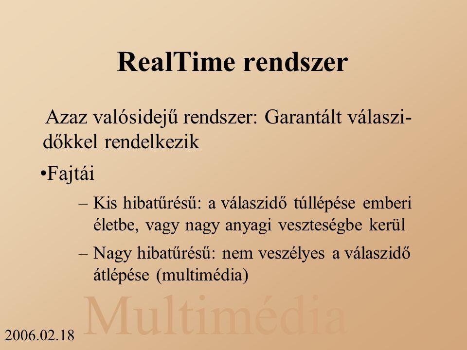 RealTime rendszer Azaz valósidejű rendszer: Garantált válaszi- dőkkel rendelkezik. Fajtái.