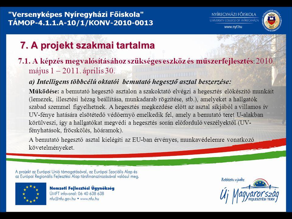 7. A projekt szakmai tartalma