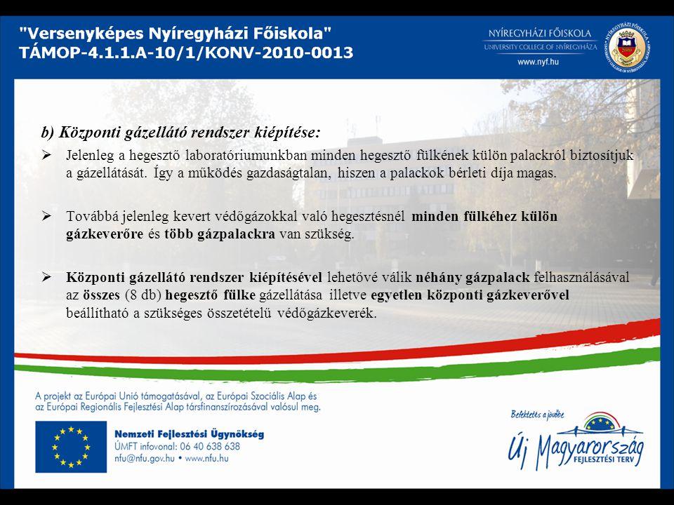 b) Központi gázellátó rendszer kiépítése: