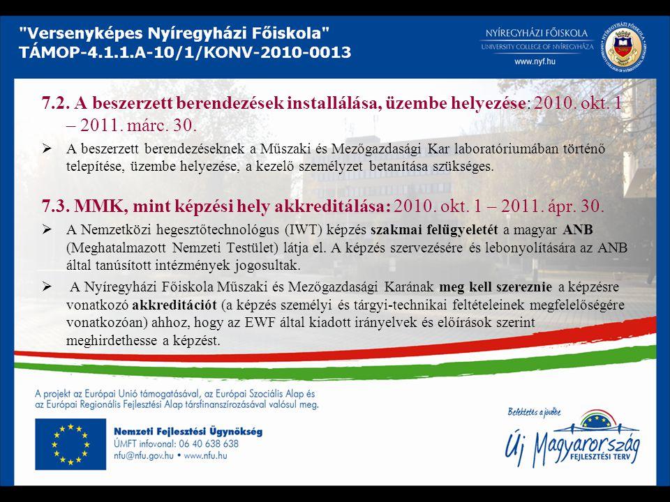 7. 2. A beszerzett berendezések installálása, üzembe helyezése: 2010