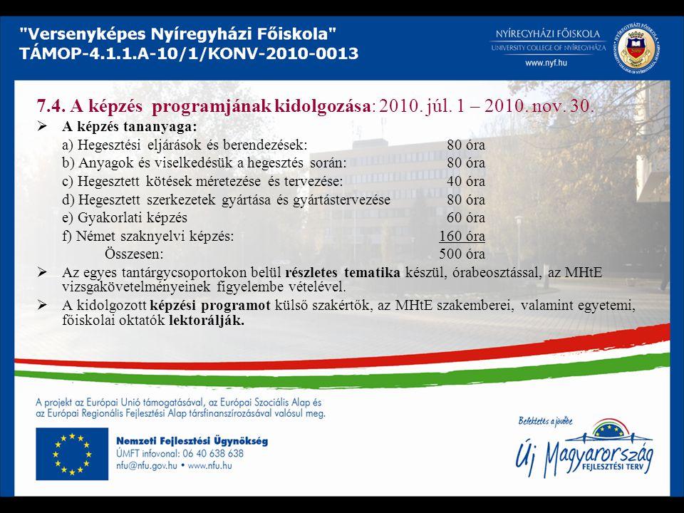 7.4. A képzés programjának kidolgozása: 2010. júl. 1 – 2010. nov. 30.