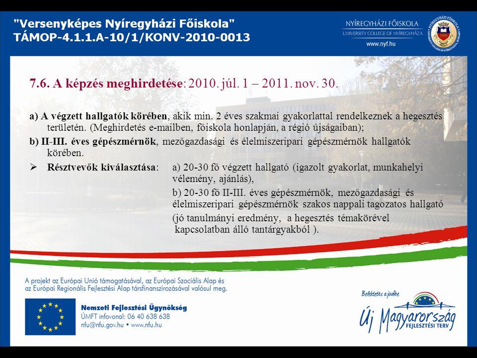 7.6. A képzés meghirdetése: 2010. júl. 1 – 2011. nov. 30.