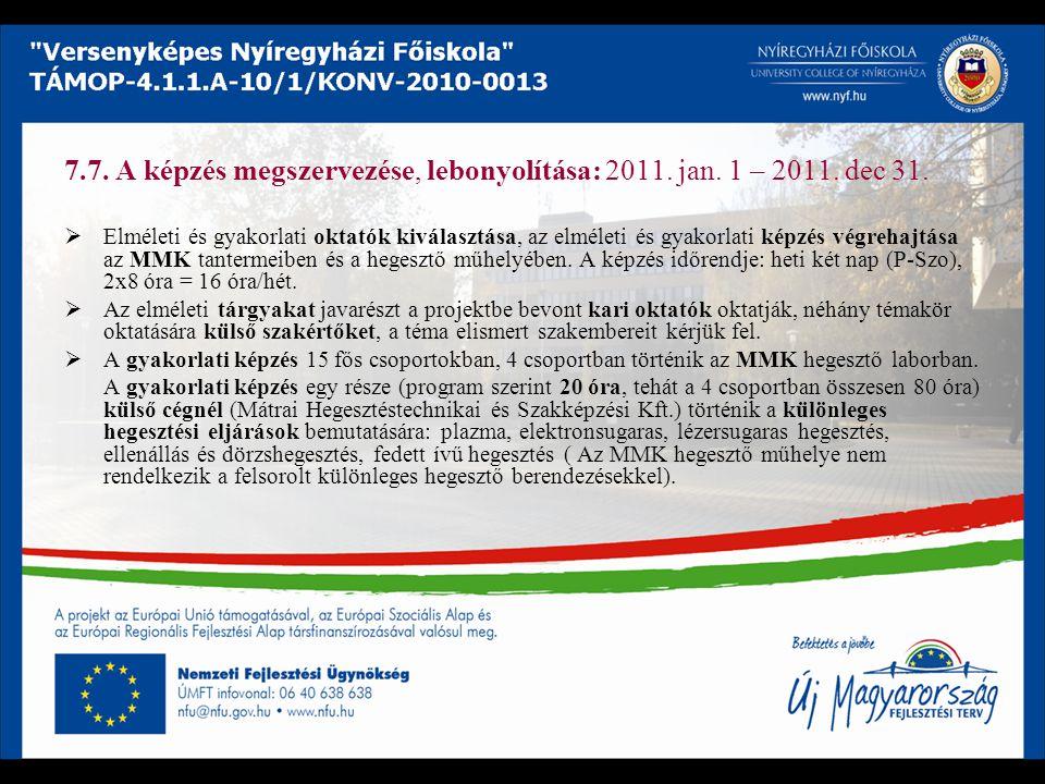 7. 7. A képzés megszervezése, lebonyolítása: 2011. jan. 1 – 2011