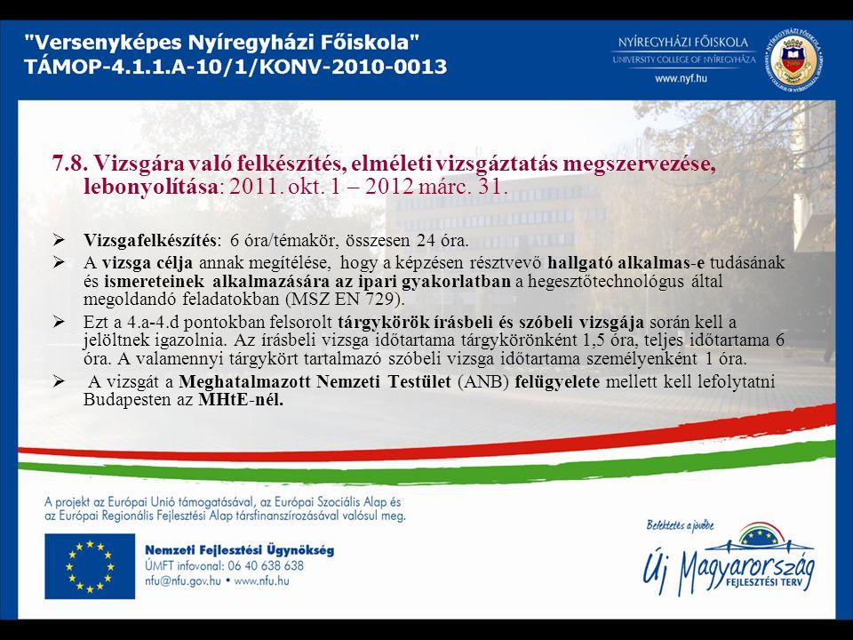 7.8. Vizsgára való felkészítés, elméleti vizsgáztatás megszervezése, lebonyolítása: 2011. okt. 1 – 2012 márc. 31.