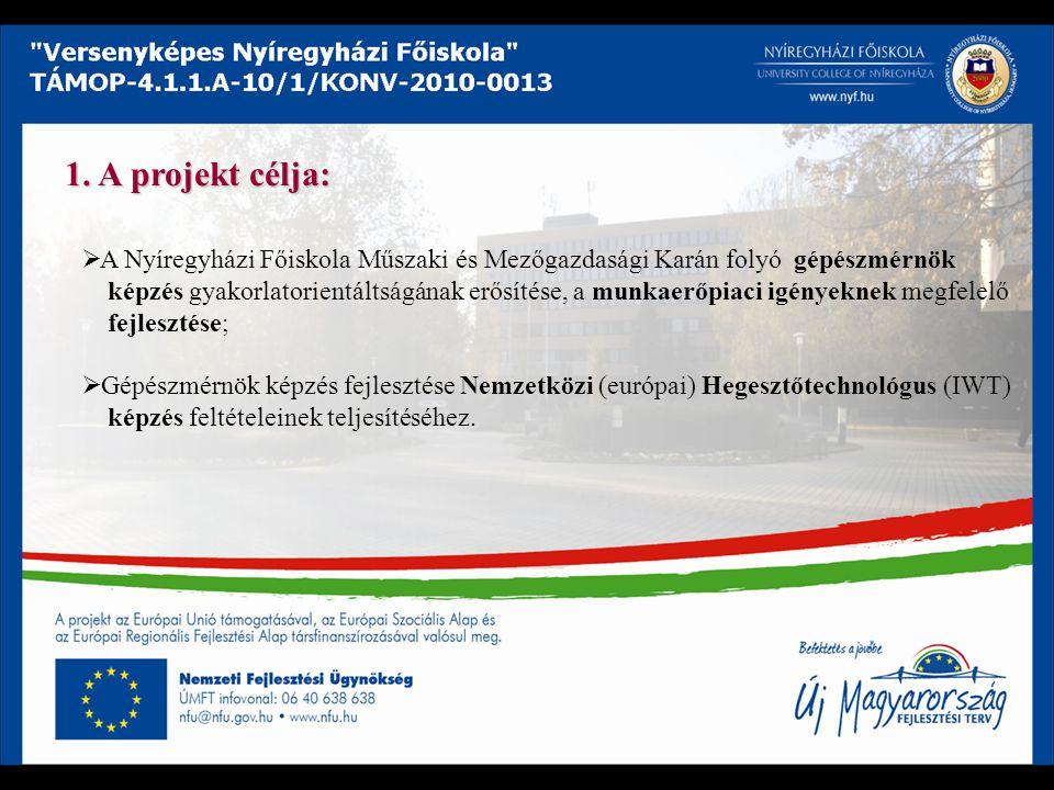 1. A projekt célja: A Nyíregyházi Főiskola Műszaki és Mezőgazdasági Karán folyó gépészmérnök.