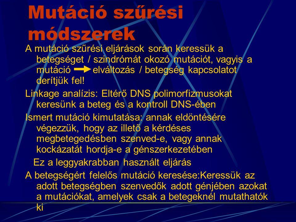 Mutáció szűrési módszerek