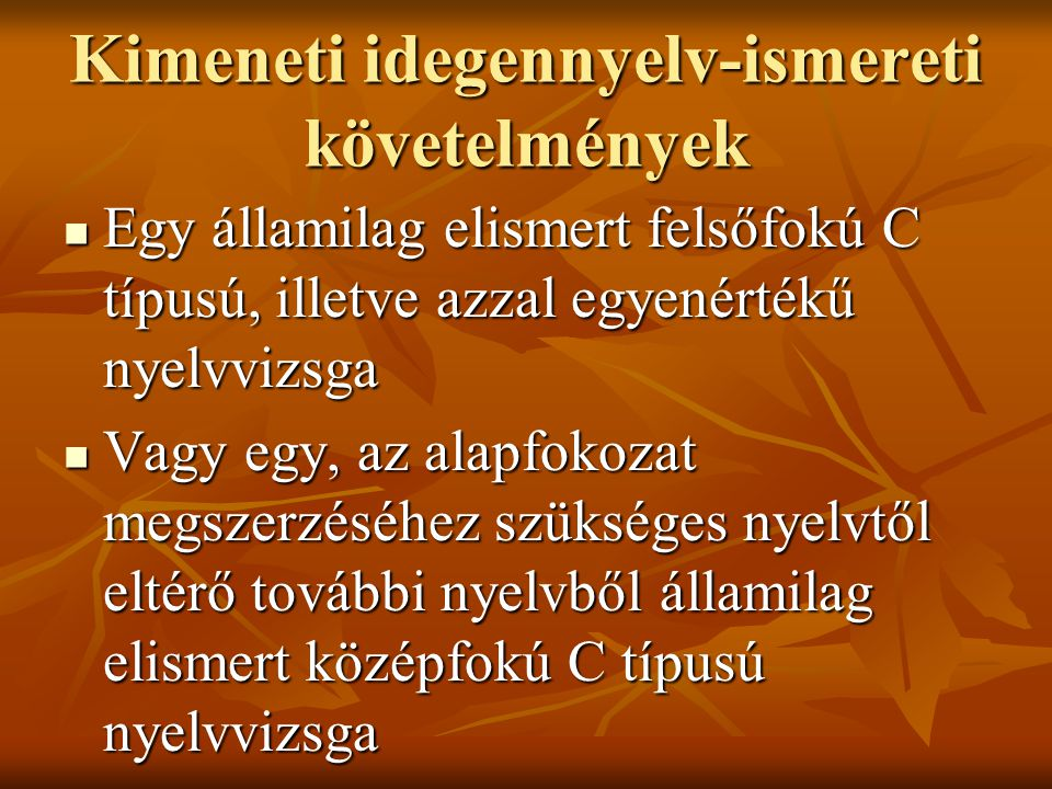 Kimeneti idegennyelv-ismereti követelmények