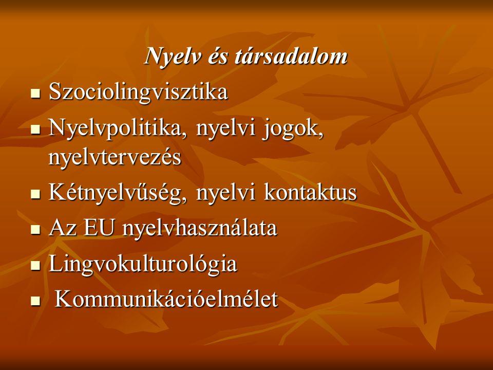 Nyelv és társadalom Szociolingvisztika. Nyelvpolitika, nyelvi jogok, nyelvtervezés. Kétnyelvűség, nyelvi kontaktus.