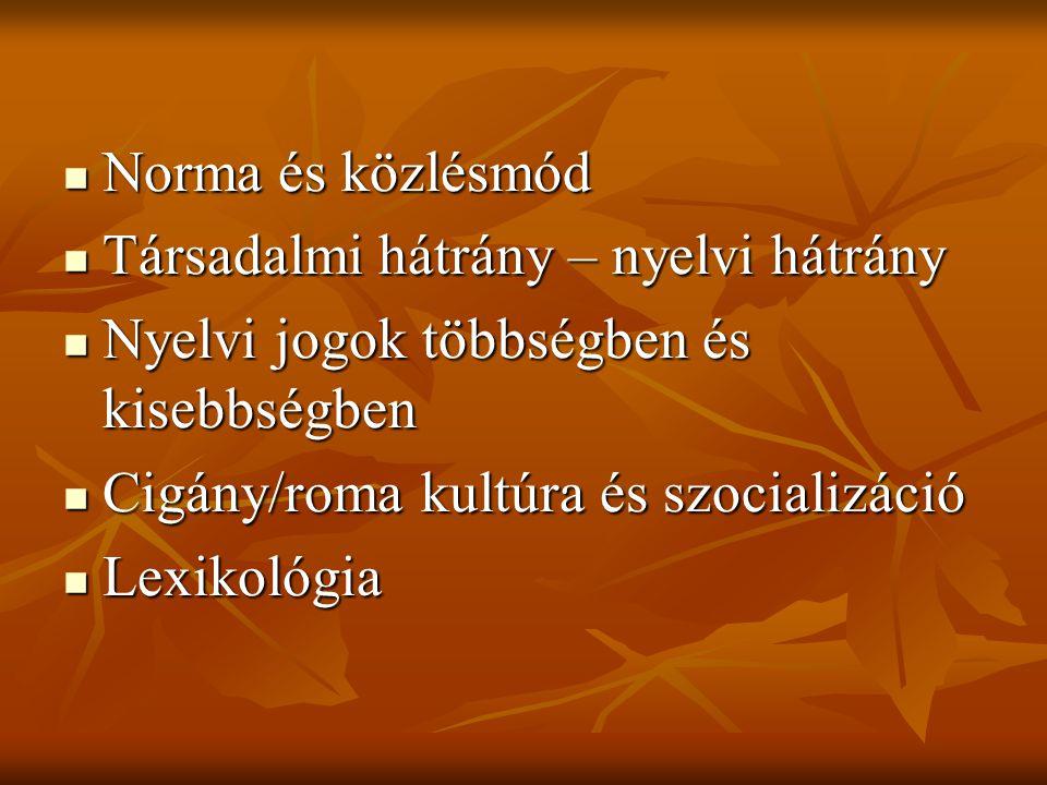 Norma és közlésmód Társadalmi hátrány – nyelvi hátrány. Nyelvi jogok többségben és kisebbségben. Cigány/roma kultúra és szocializáció.