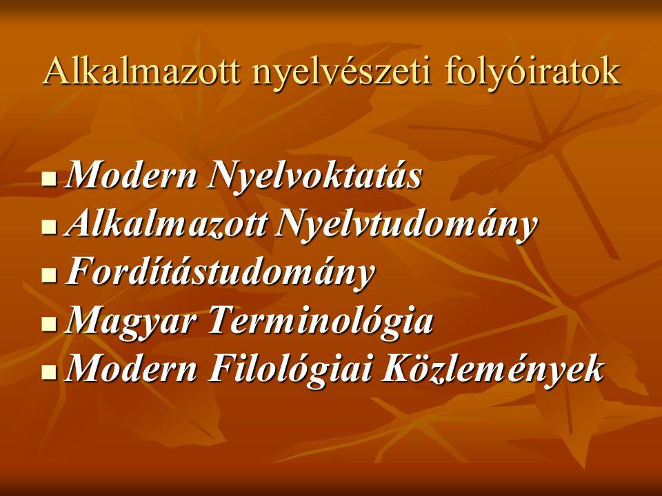 Alkalmazott nyelvészeti folyóiratok