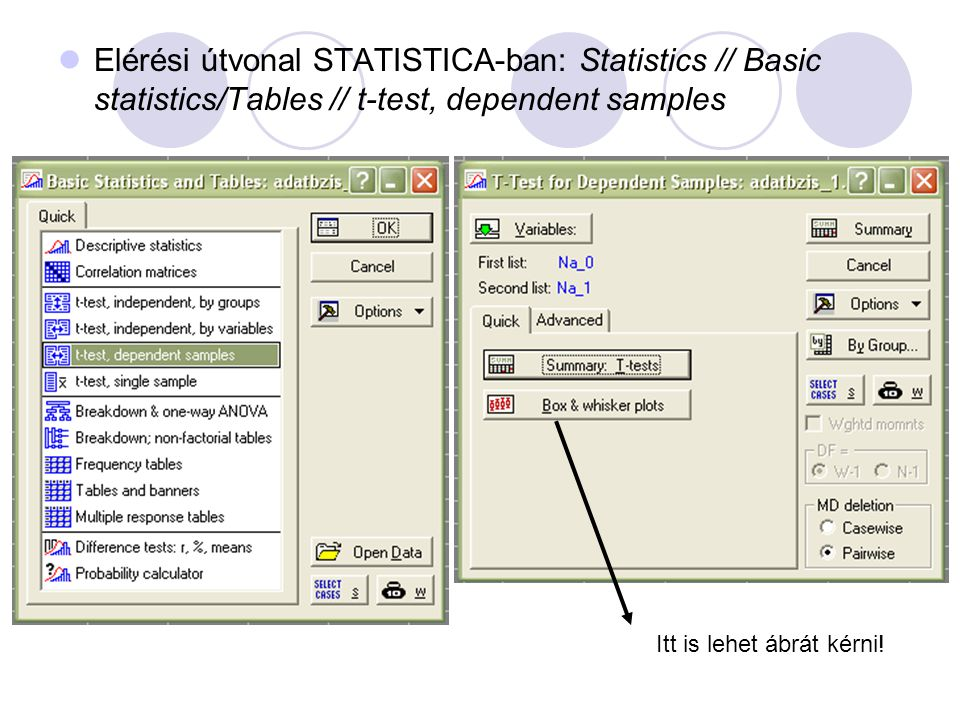 Elérési útvonal STATISTICA-ban: Statistics // Basic statistics/Tables // t-test, dependent samples
