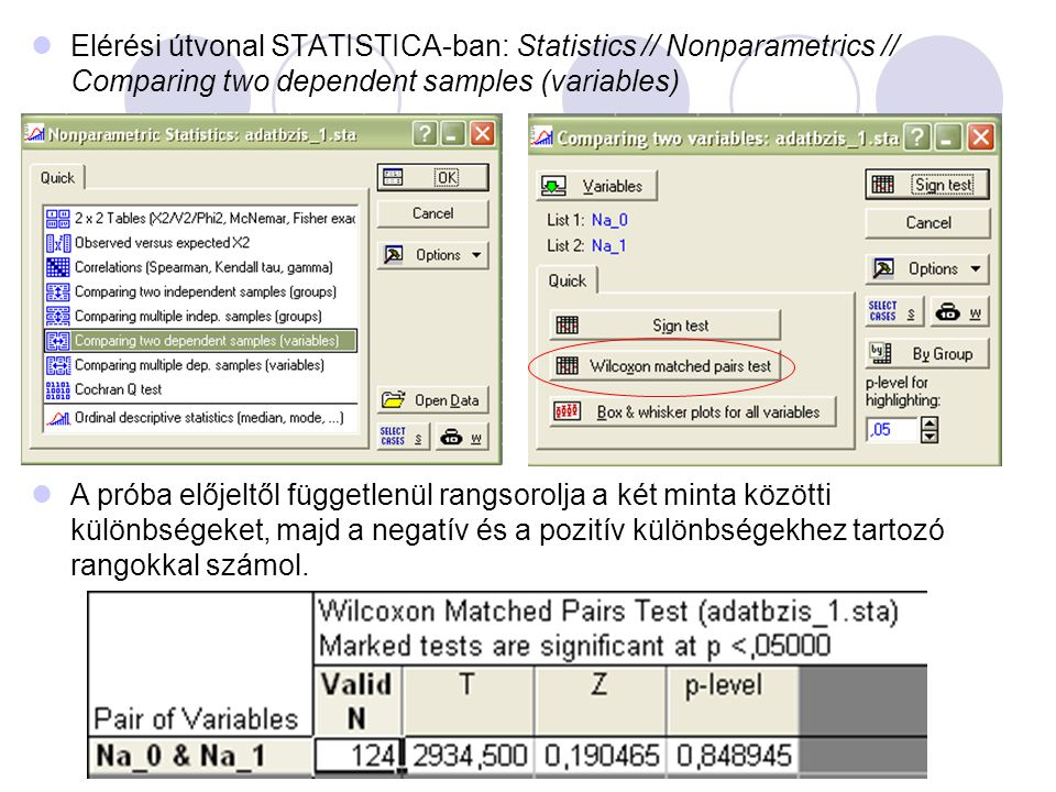 Elérési útvonal STATISTICA-ban: Statistics // Nonparametrics // Comparing two dependent samples (variables)