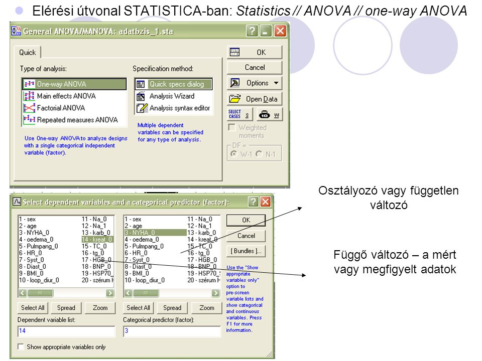 Elérési útvonal STATISTICA-ban: Statistics // ANOVA // one-way ANOVA
