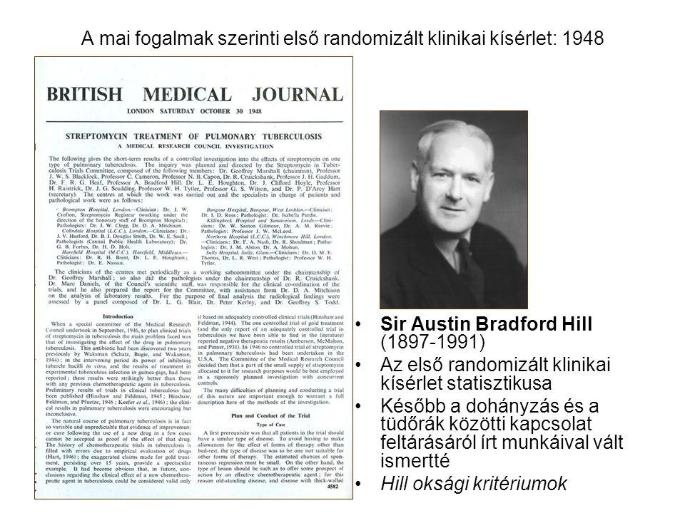 A mai fogalmak szerinti első randomizált klinikai kísérlet: 1948