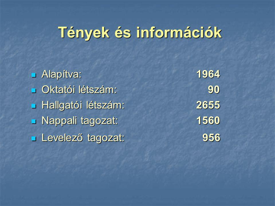 Tények és információk Alapítva: 1964 Oktatói létszám: 90