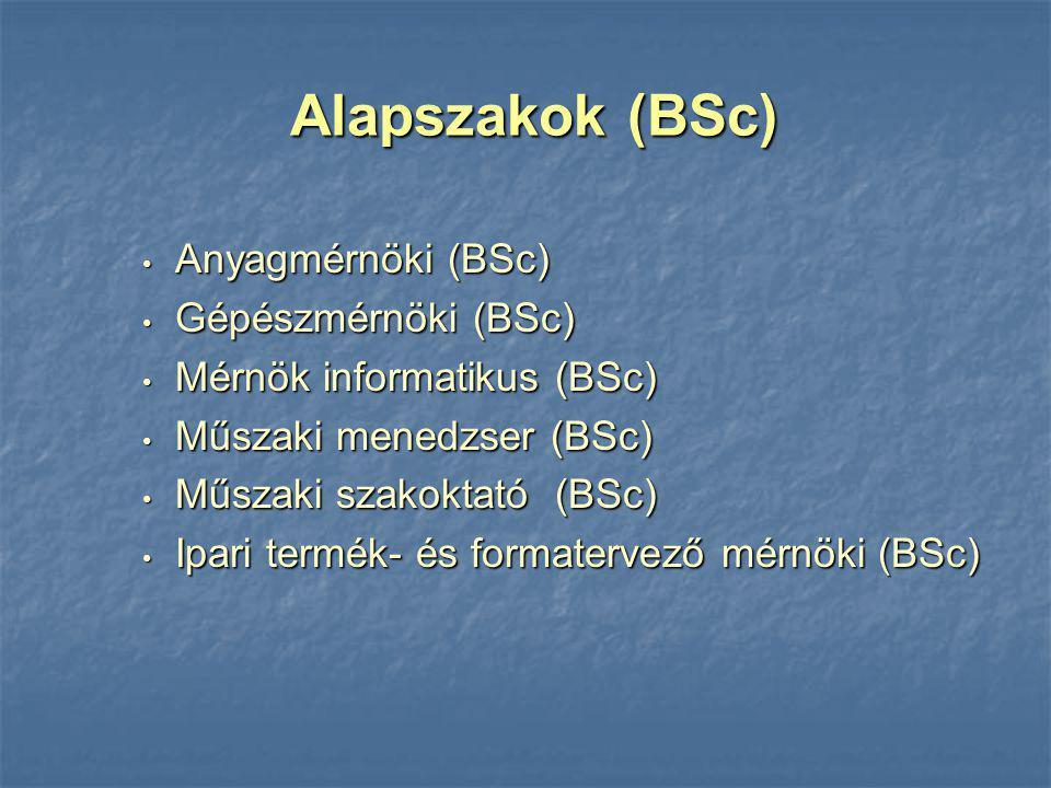 Alapszakok (BSc) Anyagmérnöki (BSc) Gépészmérnöki (BSc)