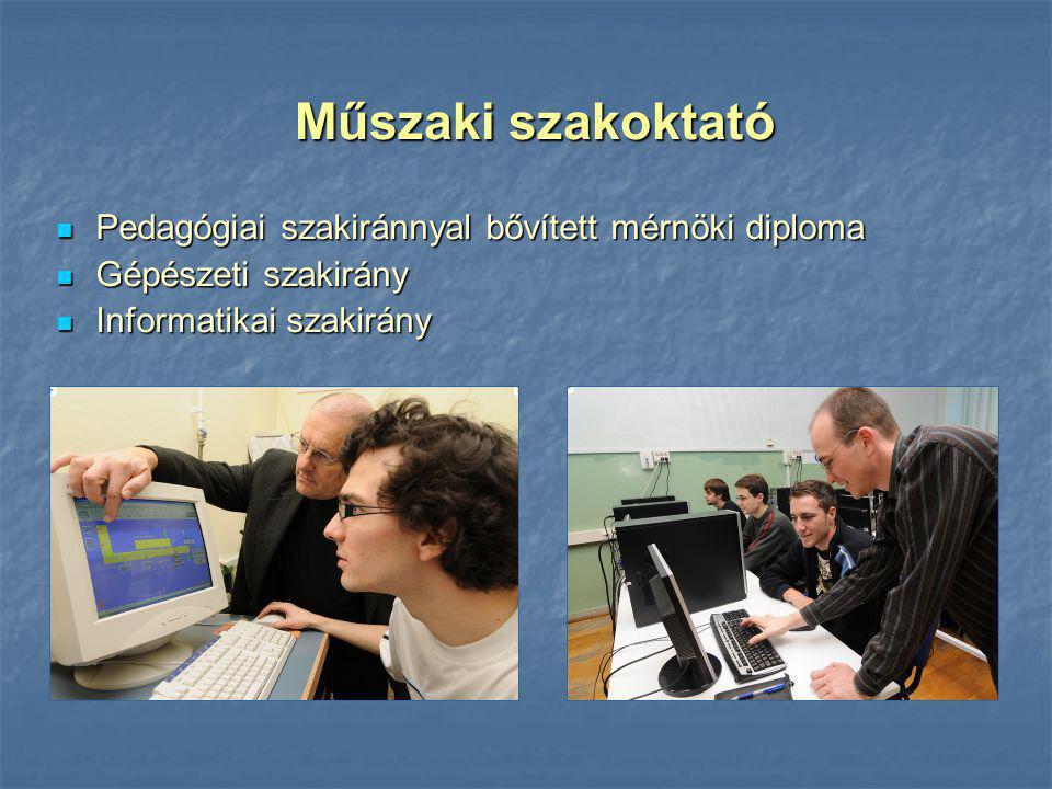 Műszaki szakoktató Pedagógiai szakiránnyal bővített mérnöki diploma