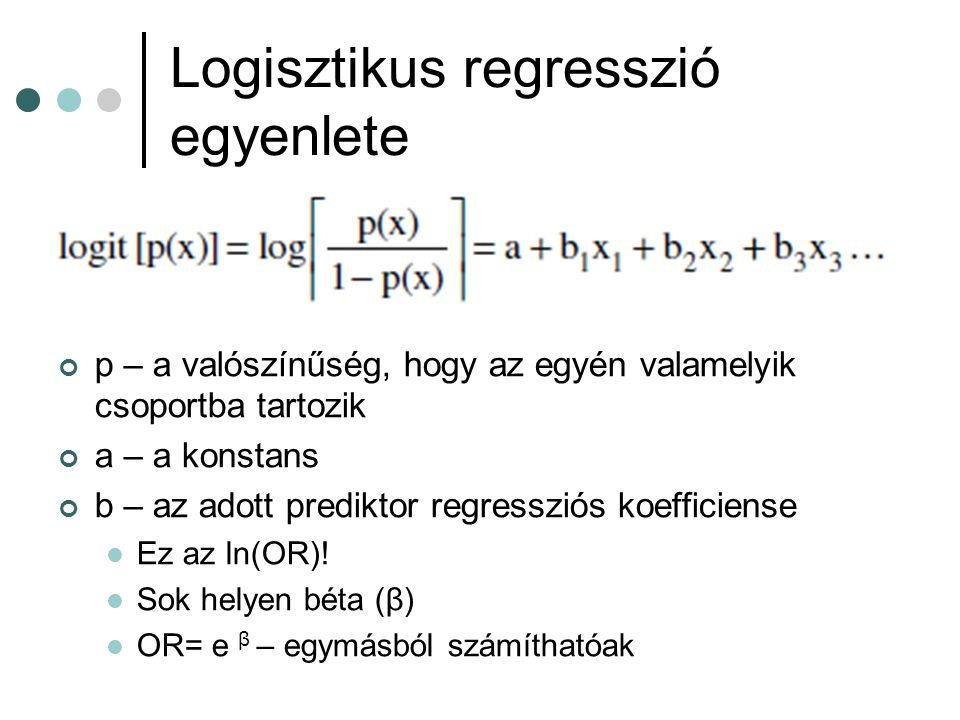 Logisztikus regresszió egyenlete